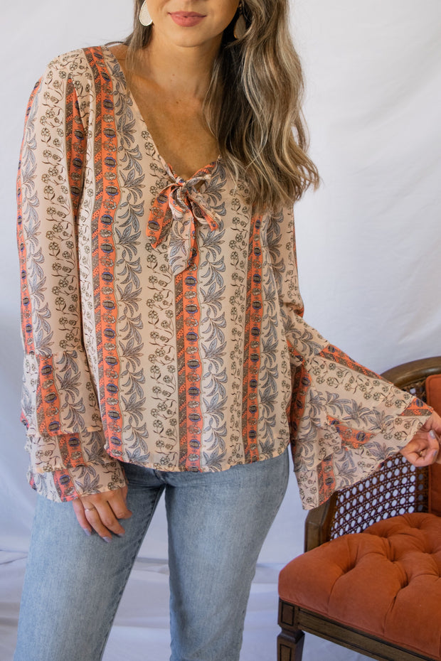 Eyes On The Prize Printed Top Blush