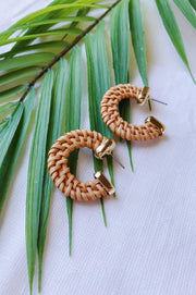 Small Straw Braid C Hoop Earrings