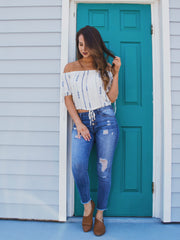 Off Shoulder Aztec Top Off White - Shellsea