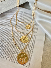 Layered Astral Coin Pendant Necklace