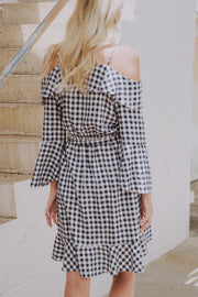 Take Me There Gingham Dress Navy