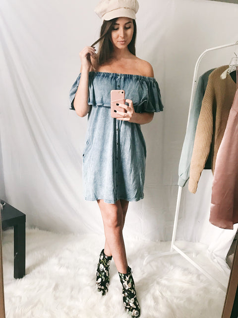Denim Daze OTS Dress Light Denim
