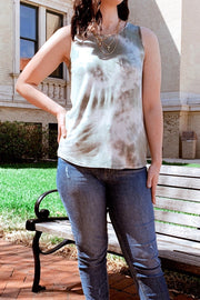 Worth a Tie Dye Tank Top Olive