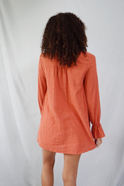 Let's Get Lost Linen Top Rust