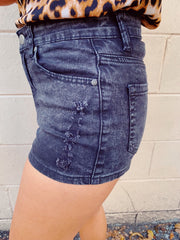 Short Story Black Denim Shorts