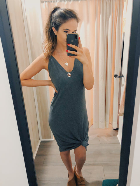 Living On A Layer Midi Dress Charcoal