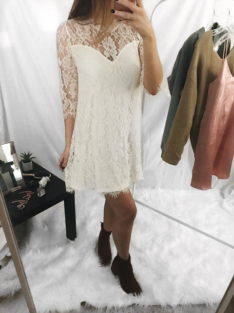 So Lush Lace Dress Ivory