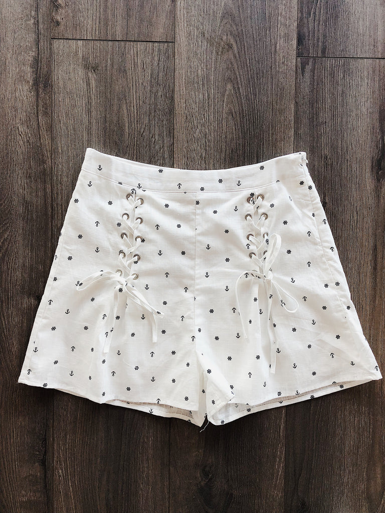 Sea You Later Nautical Shorts White