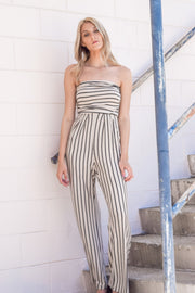 On The Stripe Track Jumpsuit Taupe