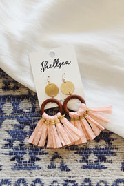 Raffia Tassel Circle Drop Earrings