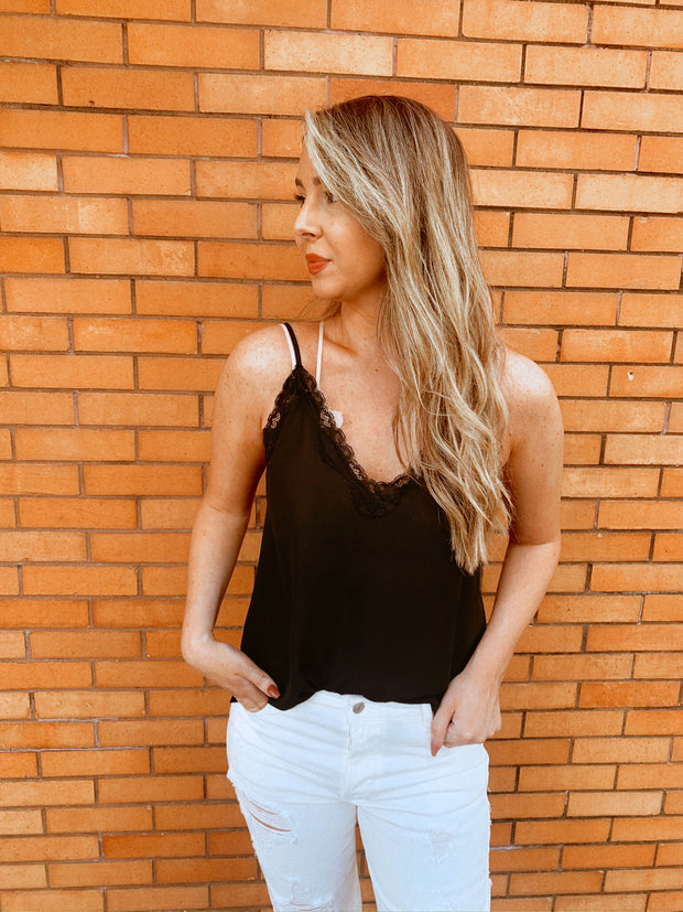 Simply Lace Tank Top Black