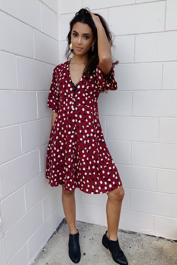 Fully Focused Dress Burgundy