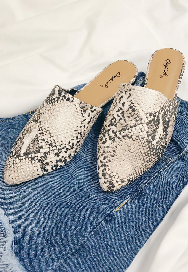 Sleek The Truth Mules Snake Print