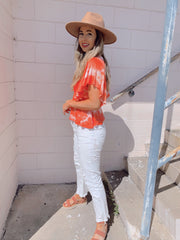 Swing to Spring Tie Dye Peplum Top Coral