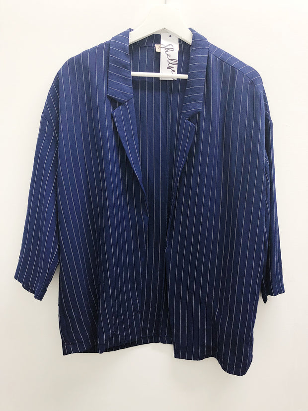 Lets Talk About It Striped Blazer Navy