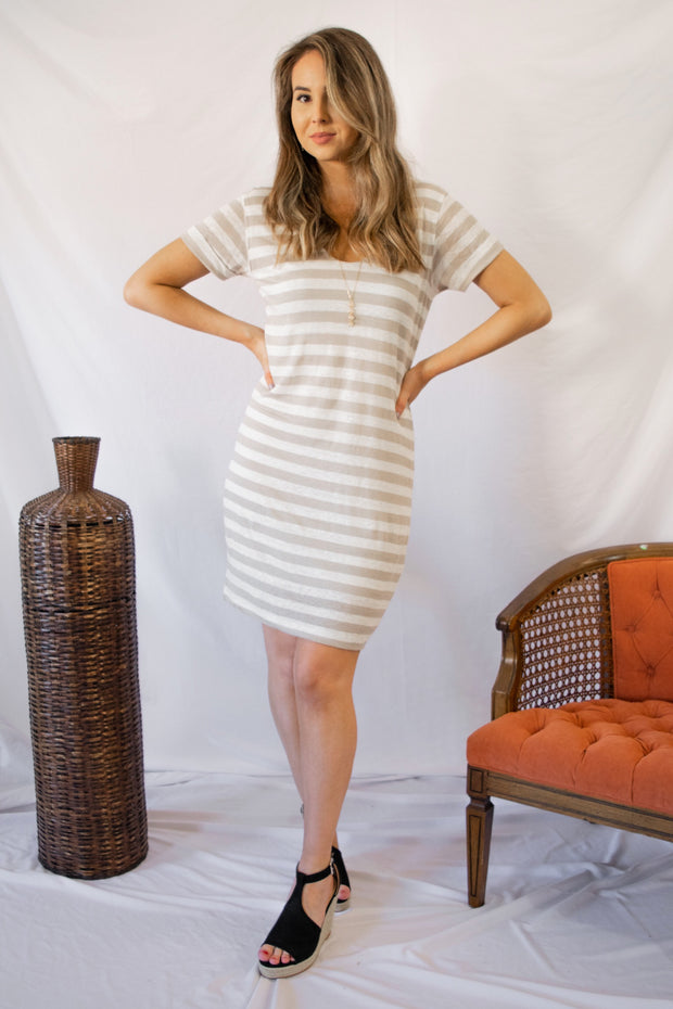 Never Leave Taupe Striped Dress Ivory