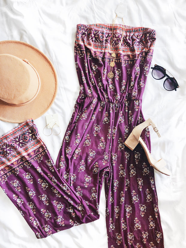 Win You Over Jumpsuit Plum
