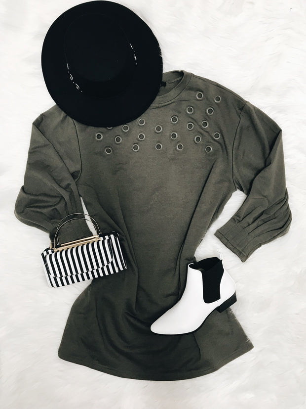 Holier Than You Thought Tunic Gray