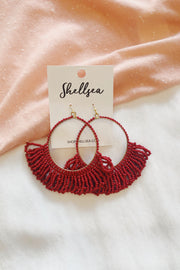 Beaded Fringe Hoop Drop Earrings