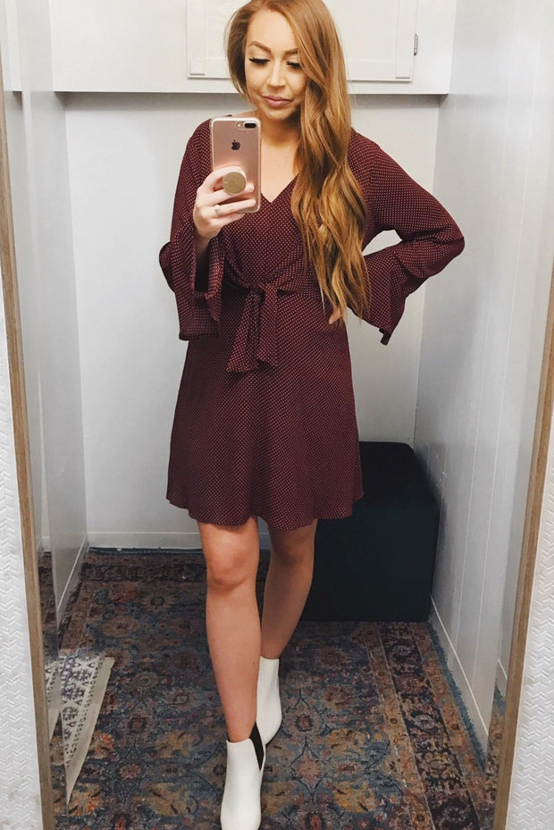Believe It Or Dot Dress Burgundy - Shellsea