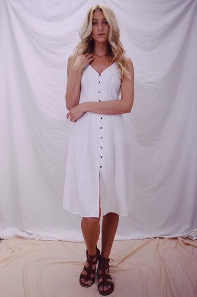 Flowing Along Dress White
