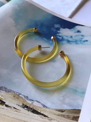 Clear Hoop Earrings Mustard