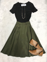 She Is Always Right Midi Skirt Olive