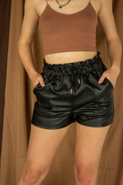 Takes Two Leather Shorts Black