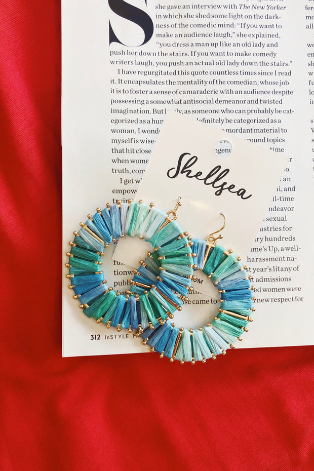Circle Hoop Drop Earrings Turquoise