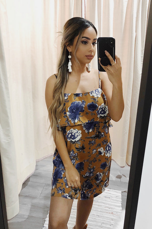 Through The Forest Floral Dress Camel