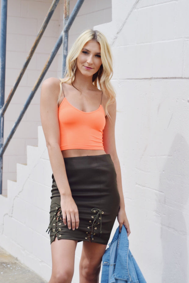 Bright Line Crop Top Orange - Shellsea