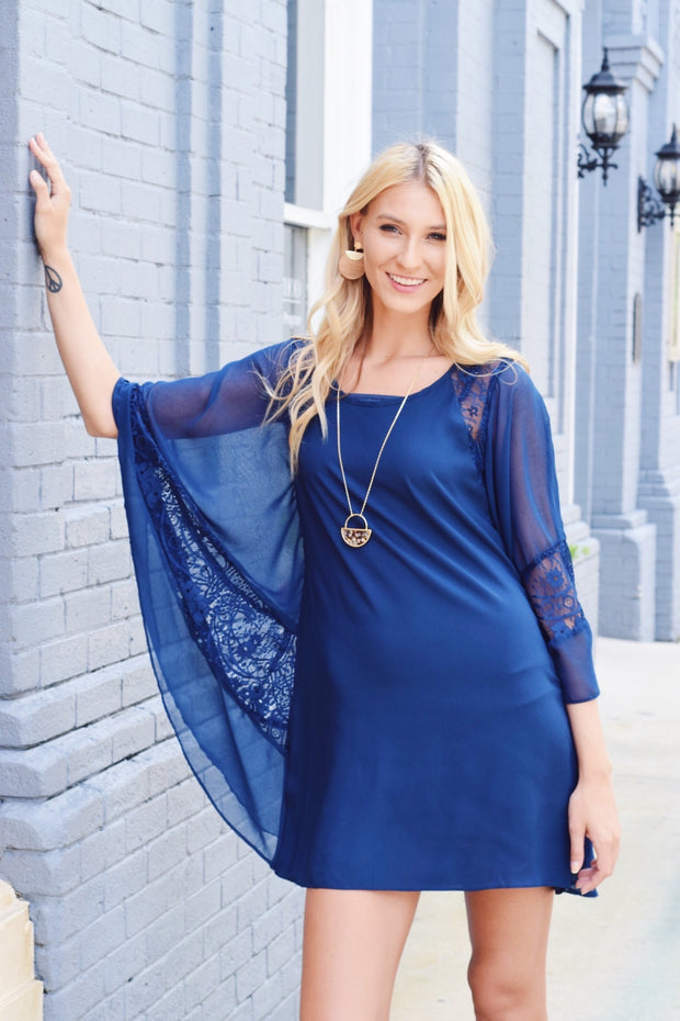 State Your Lace Dress Navy