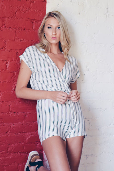 Stripe Up Your Life Romper Ivory