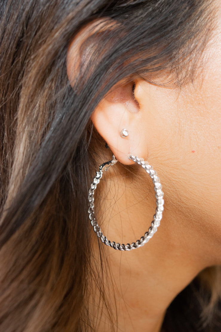 Latch Twist Hoop Earrings