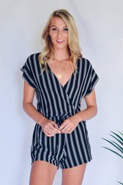 Stripe Up Your Life Romper Black