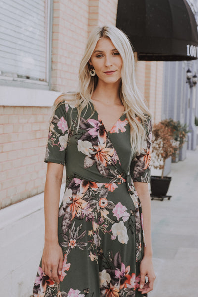 Flower By The Hour Dress Olive