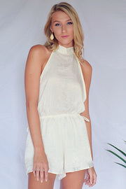 House Party Satin Romper Cream