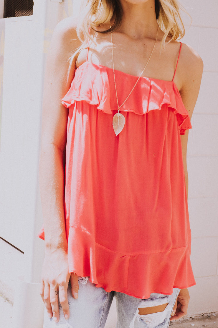 Ready To Ruffle Tank Coral