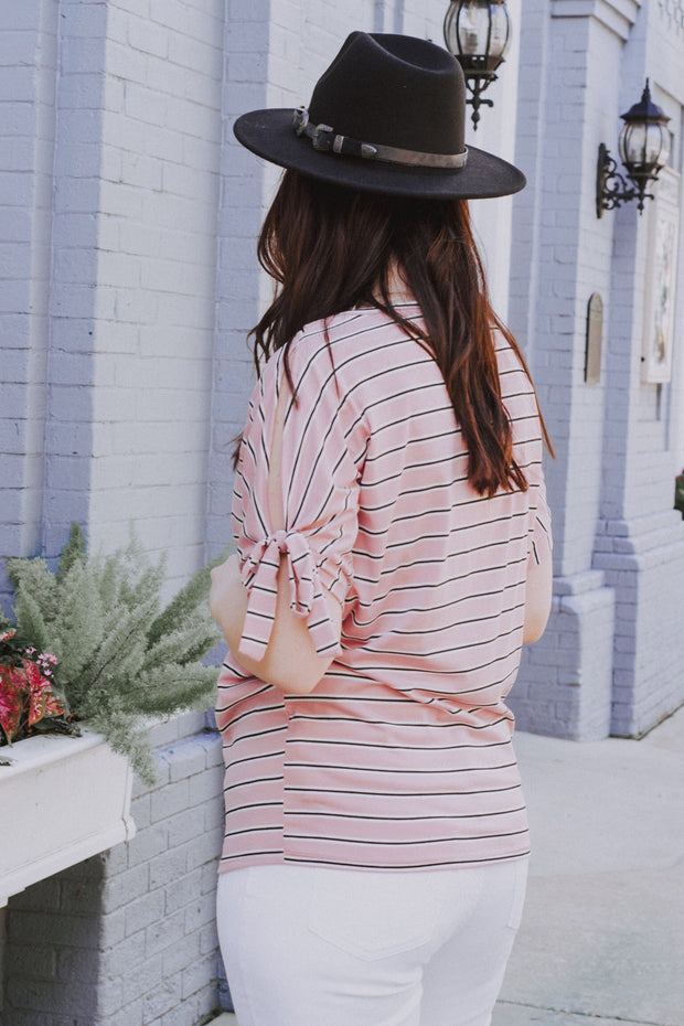 Forever Girl Striped Top Blush