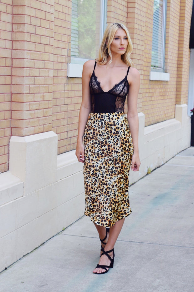 Cheetah La Vida Midi Skirt - Shellsea