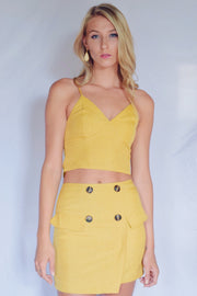 True Match Tie Back Crop Tank Mustard