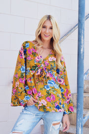 My Best Life Floral Top Mustard