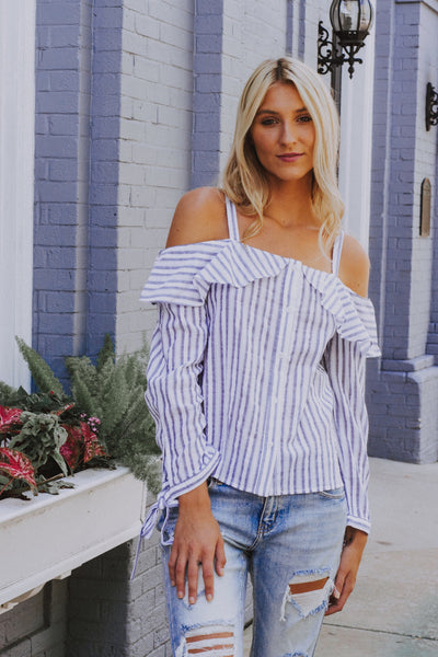 Control Yourself Striped Top Blue - Shellsea