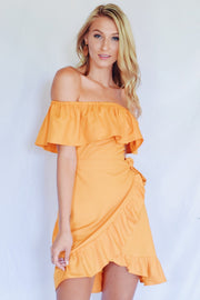 Ruffled Up Off The Shoulder Dress Mustard