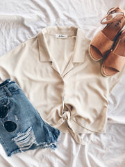 All Of A Button Tied Crop Top Tan - Shellsea