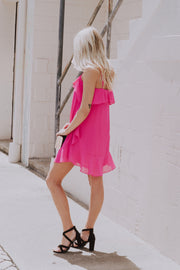 Add Some Ruffles Dress Fuschia - Shellsea
