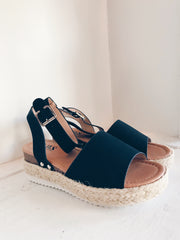 Trusted Strut Suede Espadrilles Black
