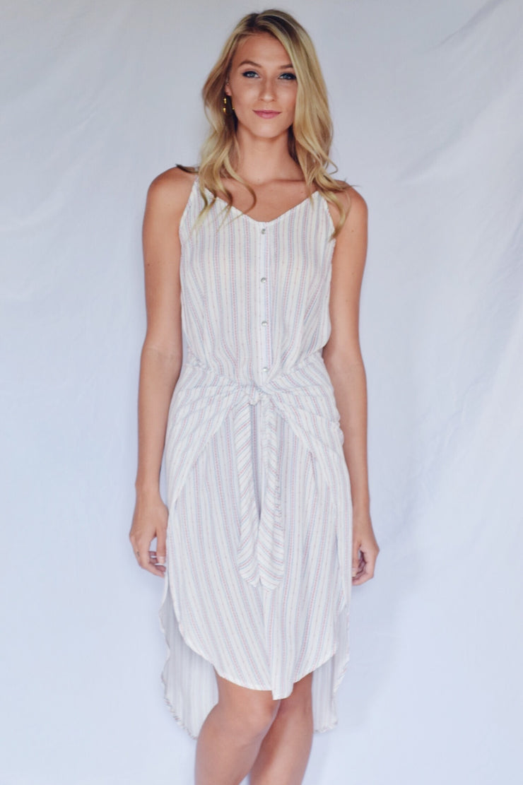 See The Light Striped Dress Ivory