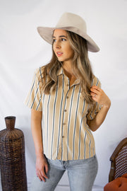 Open Minded Striped Top Mustard