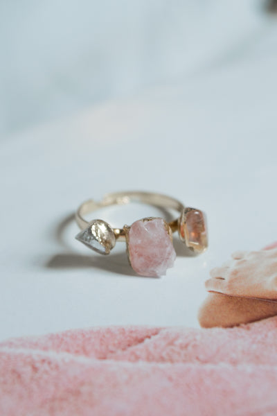 Triple Natural Stone Ring